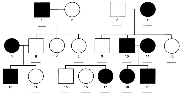 Autosomal dominant disease pedigree
